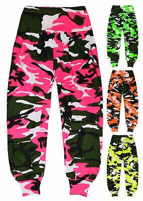 Girls Neon Camo Harem Dance Pants New Kids Vibrant Ali Baba Trousers Age 7-13 Yr