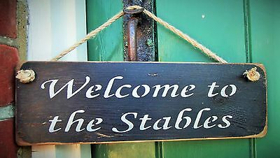 SHABBY CHIC HANGING DOOR SIGN PLAQUE BY AUSTIN SLOAN - Welcome to the Stables