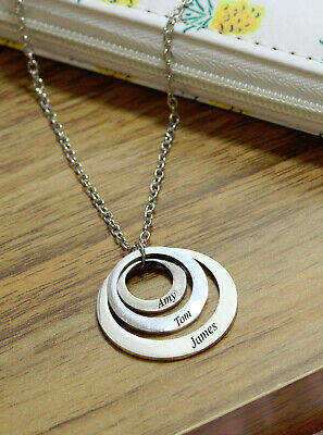 Personalised Ring Style Charm Engraved Name Necklace Gold Rose Silver Jewellery