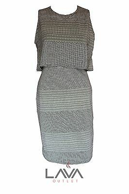 Womens Ladies Casual Party 2 in 1 Style Jaquared Print Sleeveless Dress G-1001