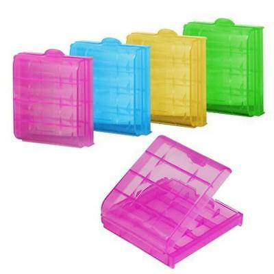 5 Clear Box Plastic Case Holder Safe Storage Cover Colors for AA AAA Battery