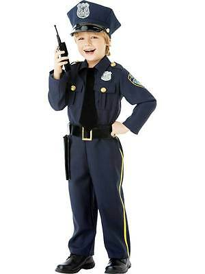 Classic Police Officer Role Play US Cop Age 4-10 Boys Kids Fancy Dress Costume
