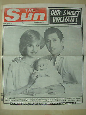 VINTAGE NEWSPAPER THE SUN JULY 29th 1982 OUR SWEET PRINCE WILLIAM