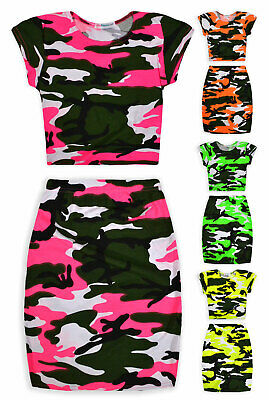Girls Neon Camo Crop Top And Skirt Outfit New Kids Summer Set Ages 7-13 Years
