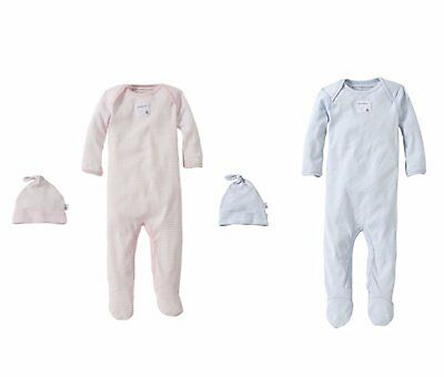 Burt's Bees Baby Bee Essentials Coverall and Hat Set - Choose Color & Size