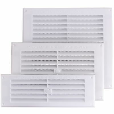 Air Vent Louvre + Removable Insect Screen Grille Wall Ducting Cover Ventilation