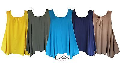 Womens Ladies Plus Size Summer Plain Sleeveless Tunic Flared Swing Top G1012