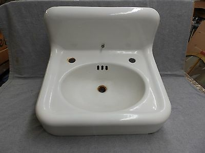 Antique Cast Iron White Porcelain Sink Old Vtg Bathroom Standard Plumbing 482-16