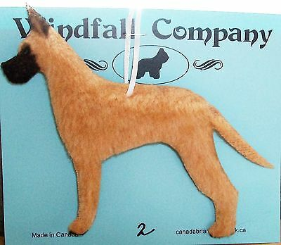 Fawn Great Dane Dog Soft Plush Christmas Canine Ornament #2 not Needle Felted