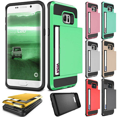 ShockProof Card Pocket Hybrid Wallet Clip Case Cover For Samsung Galaxy Series