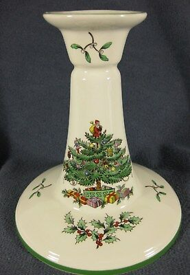 """Spode Christmas Tree 5"""" Candlestick Candle Holder Lot of 2 Green Band England"""