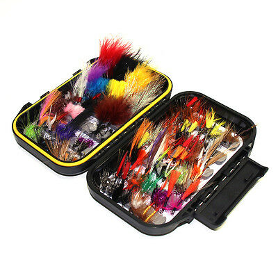 Double Side Waterproof  Fly Box Packed with 100 Assorted Dry Flies Fishing