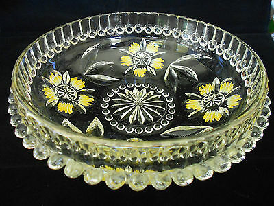 Reverse Hand Painted Vintage Clear Glass Salad Bowl C1960's Retro