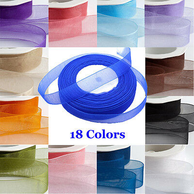 10mm 15mm 20mm 25mm 40mm Woven Organza Chiffon Ribbon 46m lengths Choose Colour