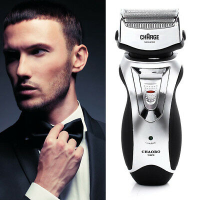 Men's Rechargeable Electric Shaver Double Mesh Blades Razor Groomer New GT