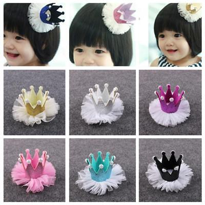 Baby Kids Girls Lace Crown Pearl Princess Hair Clip Headdress Hair Accessories