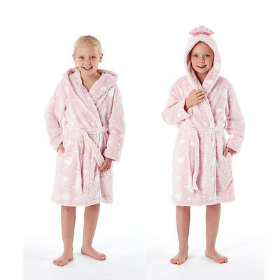 Girls/Childrens Princess Heart/Star Pink Fleece Dressing Gown Robe Select Age