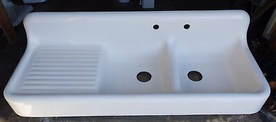 Rare Antique Cast Iron White Porcelain Double Basin Sink Left Drainboard 484-16