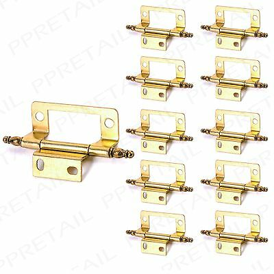 "5 PAIRS OF BRASS FINIAL HINGES 50mm/2"" Fancy Cranked Flush Kitchen Door Fixing"