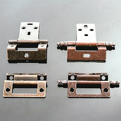 RANGE OF ANTIQUE BRASS HINGES Cranked Flush Finial Cupboard/Cabinet Door Fixing