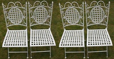4 X Maribelle Folding Square Outdoor Garden Patio Chair White Floral Furniture