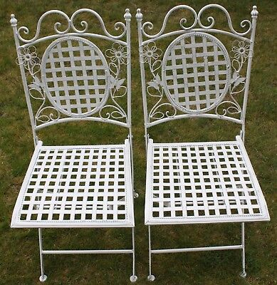 2 X Maribelle Folding Square Outdoor Garden Patio Chair White Floral Furniture