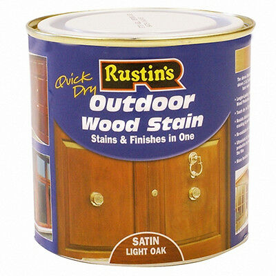 Rustins Quick Dry Exterior Woodstain Satin Light Oak 500ml