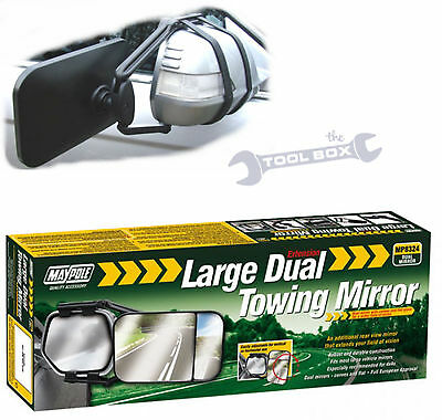 Dual Lens Towing Mirror Universal Fixing for 4x4 or MPV Caravans / Trailers