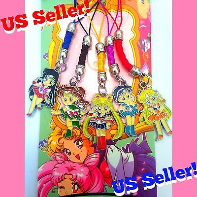 Sailor Moon 5pcs Metal Cell Phone Keychain Charm Set Venus Mars Jupiter Mercury
