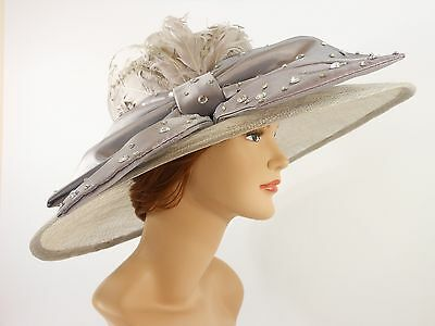 New Church Kentucky Derby Sinamay Wide Brim Dress Hat 2470 Gray