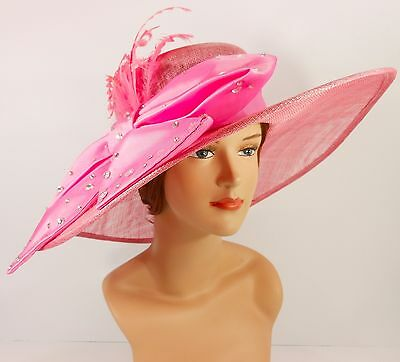 New Church Kentucky Derby Sinamay Wide Brim Dress Hat 2470 Pink