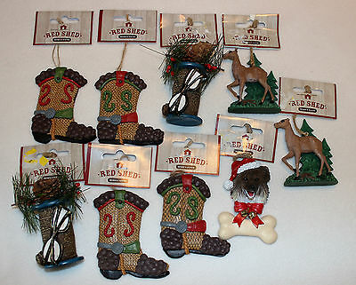 Lot of 9 NEW Red Shed Resin Christmas Ornaments Dog Deer Hunting Cowboy Boot