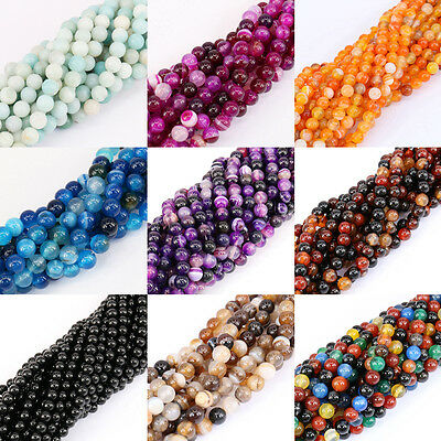 """15"""" Strands Nature Agate Round Gemstone Loose Spacer Beads Stone Jewelry Making"""