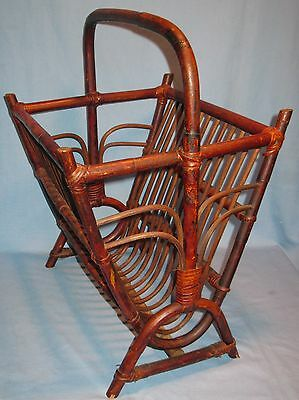 Vintage Mid-Century Bamboo Style Floor Magazine/paper Holder Stand Orig. Finish