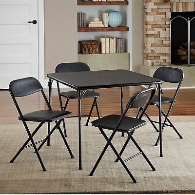 Folding Dining Table Set of 5 - Table and 4 Chairs Black Card Game Party New