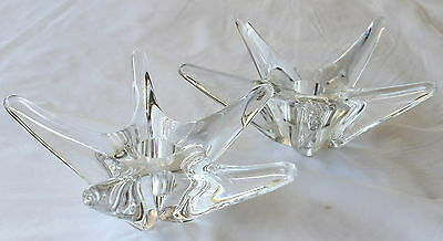 Vintage DAUM France STARBURST CANDLE HOLDERS Clear Glass