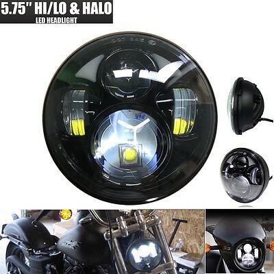 Black 5.75'' 5-3/4 40W Motorcycle Projector LED Headlight For Harley Davidson