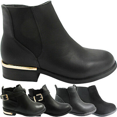 New Childrens Girls Low Heel Block Gusset Buckle Strap Chelsea Ankle Boots Size