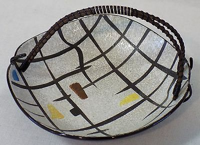 Mid Century Modern Napco Abstract Handled Candy Bowl #4UD348/WH