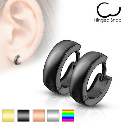 Mens Surgical Steel Black IP Huggie Hoop Hinged Earrings