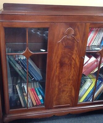 Mahogany Double Standing Glazed Bookcase Cabinet. Glass Shelves.queen Anne Legs