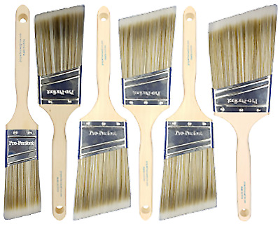 "6 Pack PRO-PERFECT PAINT BRUSH LOT.All ANGLE SASH (1)1.5"",(1) 2"", (3)2.5"", (1)3"""