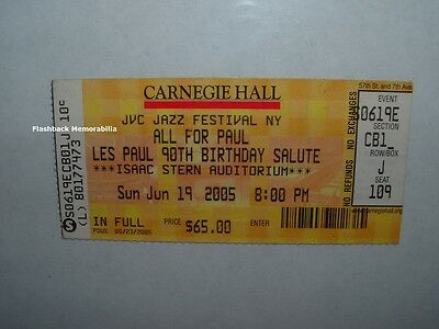 LES PAUL 90th B-Day CONCERT TICKET Carnegie Hall NYC SATRIANI Frampton FELICIANO