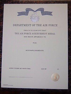 UNITED STATES AIR FORCE Meritorious Achievement Medal Certificate