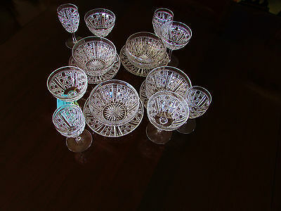 Edwardian Webb Cut Crystal 4 Person Setting