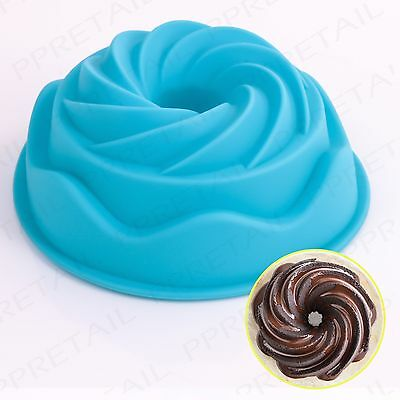 FANCY SWIRL MINI SILICONE CAKE BAKING MOULD Round/Savarin/Bread/Tin/Pan/Mold NEW