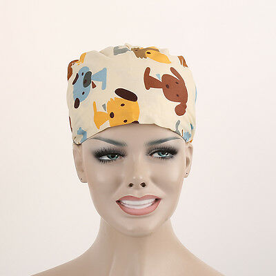 Colorful Dogs Puppy Pattern Nurses/Doctor Scrub Medical Surgical Surgery Hat/Cap