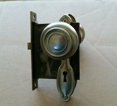 Vintage Steel Door Knob Set Lock Box  Deco Backplates Spindle ( #4A)