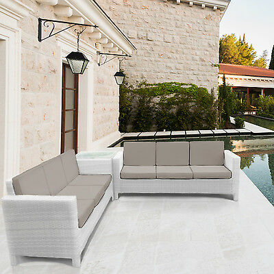 Rattan Corner Sofa Garden Furniture for Patio and Conservatory White Outdoor