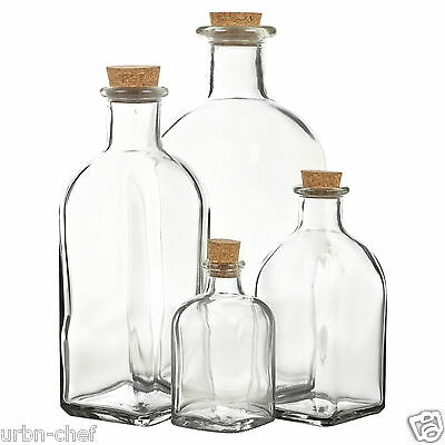 3 6 9 12 Glass Bottle Jars Vials Cork Lid Stopper Kitchen Food Storage Cruet Set